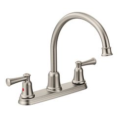 Classic stainless two-handle high arc kitchen faucet