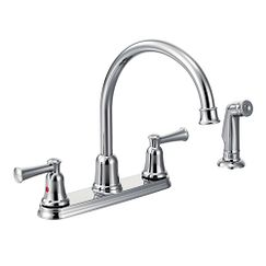 Chrome two-handle high arc kitchen faucet