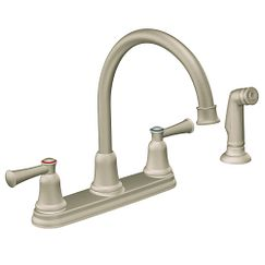 Stainless two-handle high arc kitchen faucet