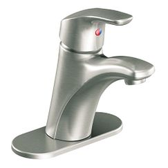 Brushed nickel one-handle bathroom faucet