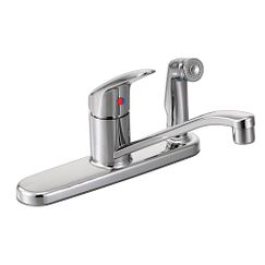 Chrome one-handle kitchen faucet