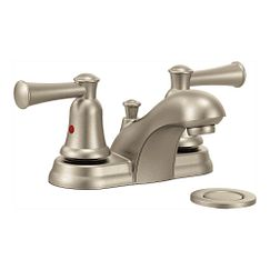 Brushed nickel two-handle bathroom faucet