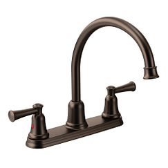 Old world bronze two-handle high arc kitchen faucet