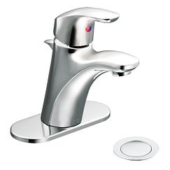 Chrome one-handle bathroom faucet